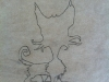 Initial drawing of cat on transparent paper